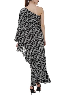 Black Monochrome Tree Printed One Shoulder Tunic With Pants by Masaba