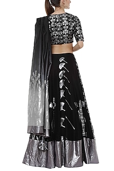 Black Multi Printed Lehenga Set by Masaba