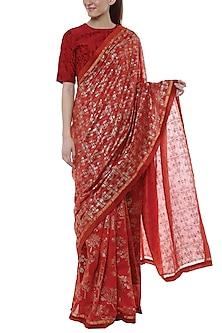 Scarlet Red & Gold Printed Saree Set by Masaba