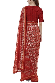 Scarlet Red & Gold Printed Saree Set by Masaba