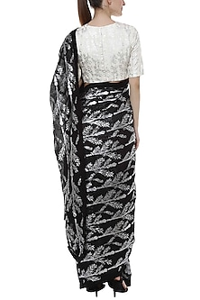 Black Ombre Printed Saree by Masaba