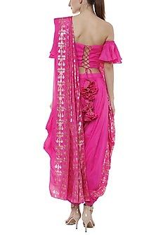 Rani Pink & Cabaret Pink Printed Dhoti Saree Set by Masaba
