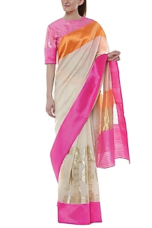 Pearl White Double Border Banarasi Saree by Masaba