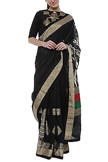 Black Banarasi Saree With Multi Colored Pallu by Masaba