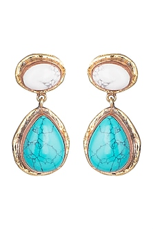 Gold Plated Handmade Turquoise & Howlite Stone Earrings by Mona Shroff Jewellery
