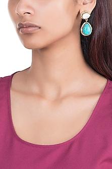 Gold Plated Handmade Turquoise & Howlite Stone Earrings by Mona Shroff Jewellery