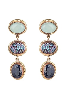 Gold Plated Handmade Hade, Druzy & Black Onyx Stone Earrings by Mona Shroff Jewellery