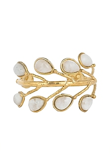 Gold Plated Handmade Moonstone Pearl Cuff by Mona Shroff Jewellery