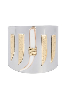 Gold Plated Handmade Moonstone & Pearl Cuff by Mona Shroff Jewellery