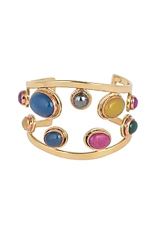 Gold Plated Handmade Blue lapis, Rose Lemon Labradorite & Emerald Stone Cuff by Mona Shroff Jewellery