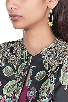 Gold Plated Handmade Turquoise Green Stone Hoop Earrings by Mona Shroff Jewellery
