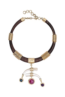 Gold Plated Handmade Stone & Teak Wood Necklace by Mona Shroff Jewellery