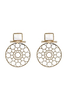 Gold Plated Handmade Moonstone Pearl Carved Earrings by Mona Shroff Jewellery