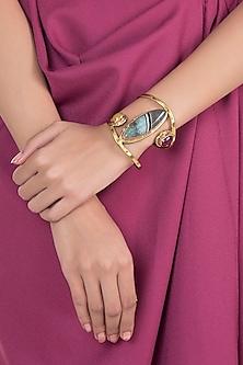 Gold Plated Handmade Blue Lapis, Lemon & Rose Stone Cuff by Mona Shroff Jewellery