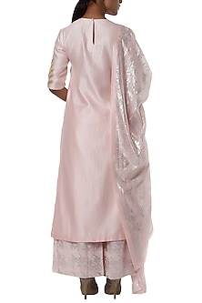 Pearl pink embroidered kurta with printed palazzo and dupatta