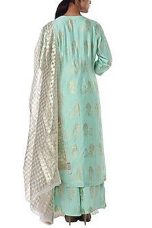 Mint blue rabbit embroidered kurta and palazzo with ivory dupatta