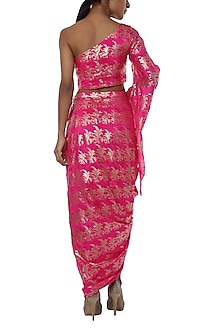Pink printed one shoulder top with drape skirt by Masaba