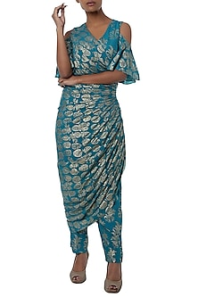Teal blue printed cold shoulder wrap dress with pants by Masaba