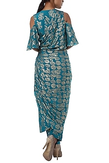 Teal blue printed cold shoulder wrap dress with pants
