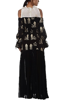Black and white printed cold shoulder gown