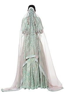 Mint blue embroidered lehenga set