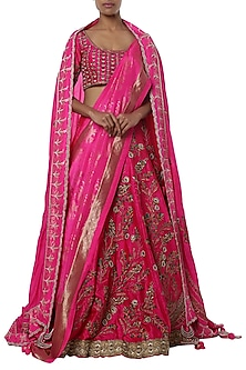 Fushcia pink embroidered lehenga set by Masaba