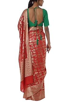 Red printed banarasi saree with green blouse piece