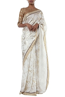 Ivory printed banarasi saree with blouse piece by Masaba