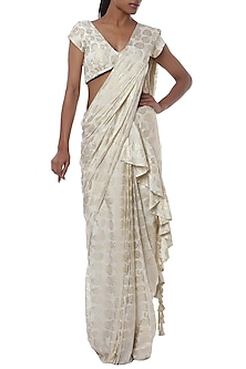 Ivory printed ruffle pleated saree with blouse piece by Masaba
