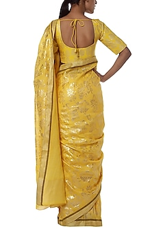 Yellow printed saree with blouse piece