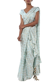 Ice blue printed ruffle pleated saree with blouse piece by Masaba