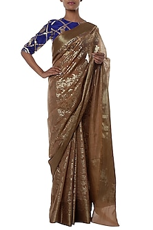 Nude half and half printed saree with blouse piece by Masaba