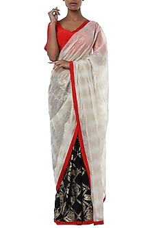 Ivory half and half printed saree with red blouse piece by Masaba