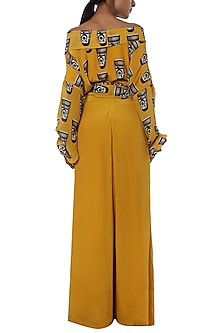 Yellow printed wrap top with palazzo pants