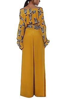 Yellow printed wrap top with palazzo pants