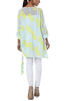 Ice blue printed tunic