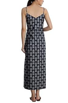 Blue printed maxi slip dress