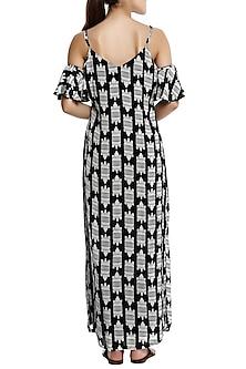 Black printed cold shoulder maxi dress