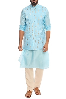 Aqua Blue Tribal Khadi Bundi Jacket With Kurta & Ivory Pants by Masaba Men