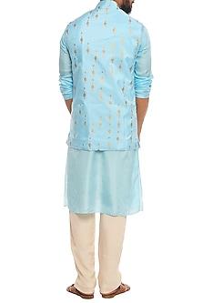 Aqua Blue Tribal Khadi Bundi Jacket With Kurta & Ivory Pants
