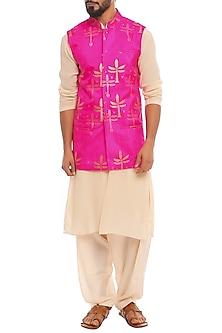 Pink Bandi Jacket With Ivory Kurta & Pants by Masaba Men