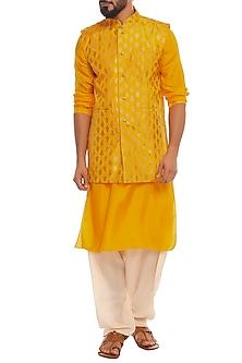 Yellow Bandi Jacket With Kurta & Ivory Pants by Masaba Men