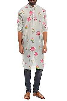 Aqua Lotus Printed Kurta by Masaba Men