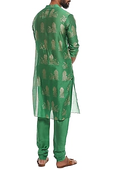 Green Gold Rabbit Printed Kurta With Pants by Masaba Men