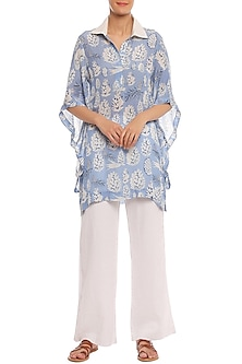 Blue Pine Forest Printed Asymmetrical Sleeves Shirt by Masaba