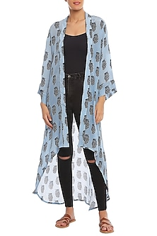 Blue Pine Clone Printed Asymmetrical Jacket by Masaba