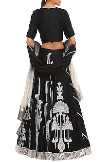 Black Egyptian Fan Multi Print & Embroidered Lehenga Set by Masaba