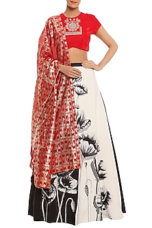 White & Red Charcoal Half & Half Printed Lehenga Set by Masaba