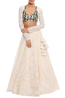 White & Black Multi Printed Lehenga Set by Masaba