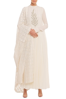 White Embroidered Anarkali Set by Masaba